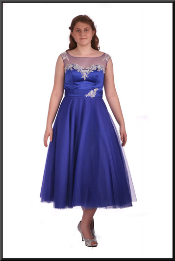 """Ballroom style calf length net bridesmaid / cocktail dress with embroidered bodice - royal blue, size 12. Model height 5'7"""""""