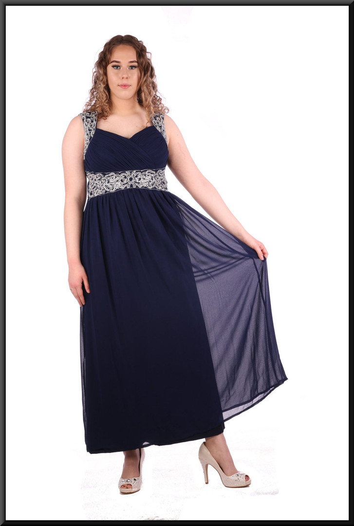 Silk-effect over satinette calf length with diamanté straps and bodice detail size 12 / 14- navy blue