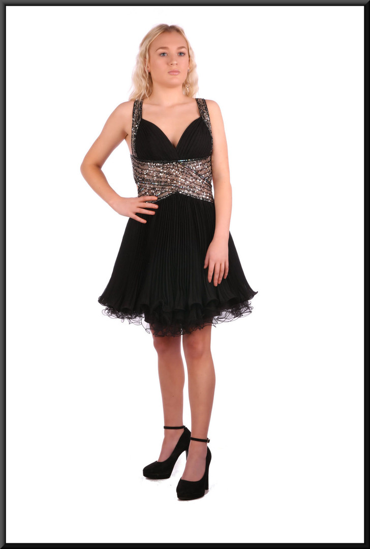 Multi-layer voile and net over satin mini-skirt topped with sequinned backless bodice - black