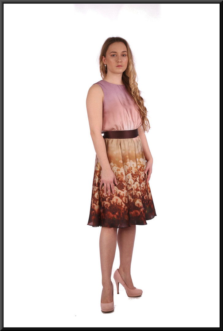 """Simple summer cocktail dress knee length with dandelion pattern over-skirt - dark pink and gold, size 6. Model height 5'3"""""""