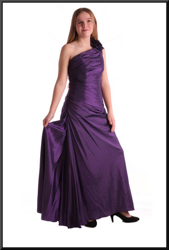 Satin polyester with pleated sides and ruched bodice one shoulder strap - plum