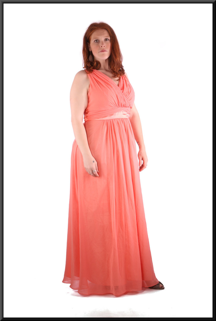 Chiffon ankle length evening / party dress with satinette lining size 14 / 16 pink