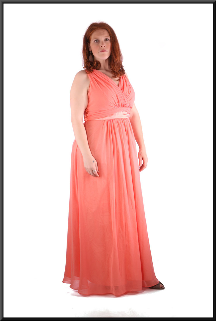 Size 14 / 16 pink chiffon ankle length evening / party dress with satinette lining