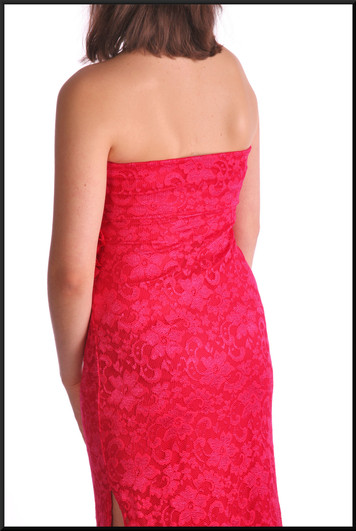 """Ankle length lace effect over satinette strapless cocktail dress with split side, fuchsia, size 12, model height 5'10"""""""