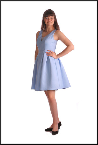 Mini dress pleated below the waist band to a slightly flared skirt with net under-skirt, mid blue, size 12
