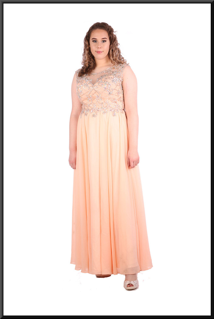 """Full length voile over satinette full skirt with embellished upper bodice and collar, size14in pink. Model height 5'7"""""""