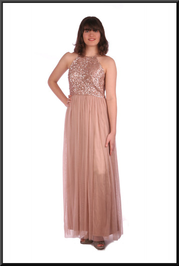 """Classic evening dress with sequinned bodice with multi-layered net skirt over satin - pink, size 10. Model height 5'10"""""""