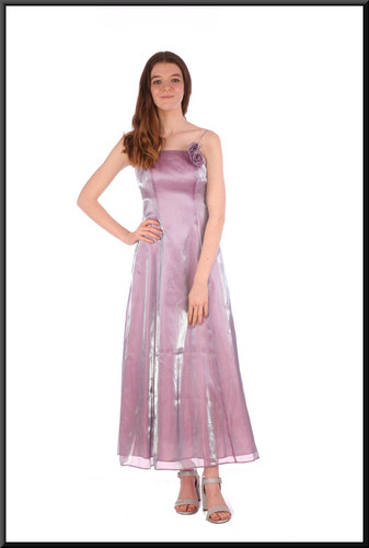 Iridescent calf length nylon / polyester mix chiffon over satinette cocktail dress - lilac to silver, size 6; model height 5'7""