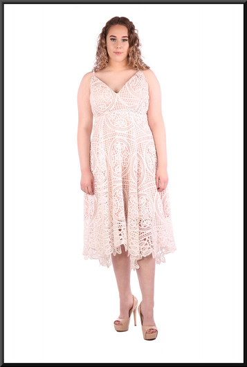 """Crochet effect over satinette under-dress, three quarter length, size 12 / 14in off white over pink. Model height 5'7"""""""