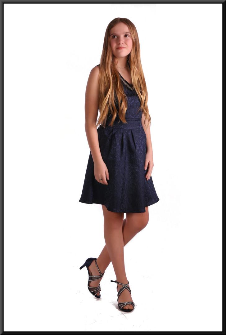 Classic patterned full skirt cocktail dress - royal blue