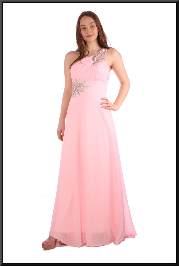Full length chiffon evening dress with train, corset tie and satinette mini underskirt - pink, size 12 / 14.  Model height 5'7""