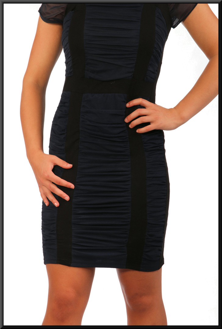 Ruched cocktail dress cotton with net shoulder panels, black and navy blue, size 10, model height 5'5""