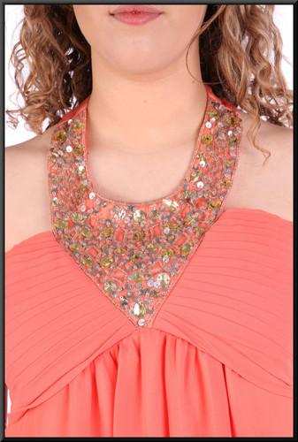 "Halter neck full length voile over satinette dress, size 14in lobsterpink. Model height 5'7"""