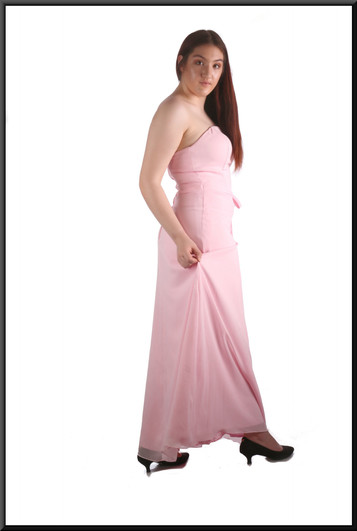 """Strapless ankle length chiffon over satinette slimline evening / party / bridesmaid dress, powder pink, size 12, model height 5'7"""""""