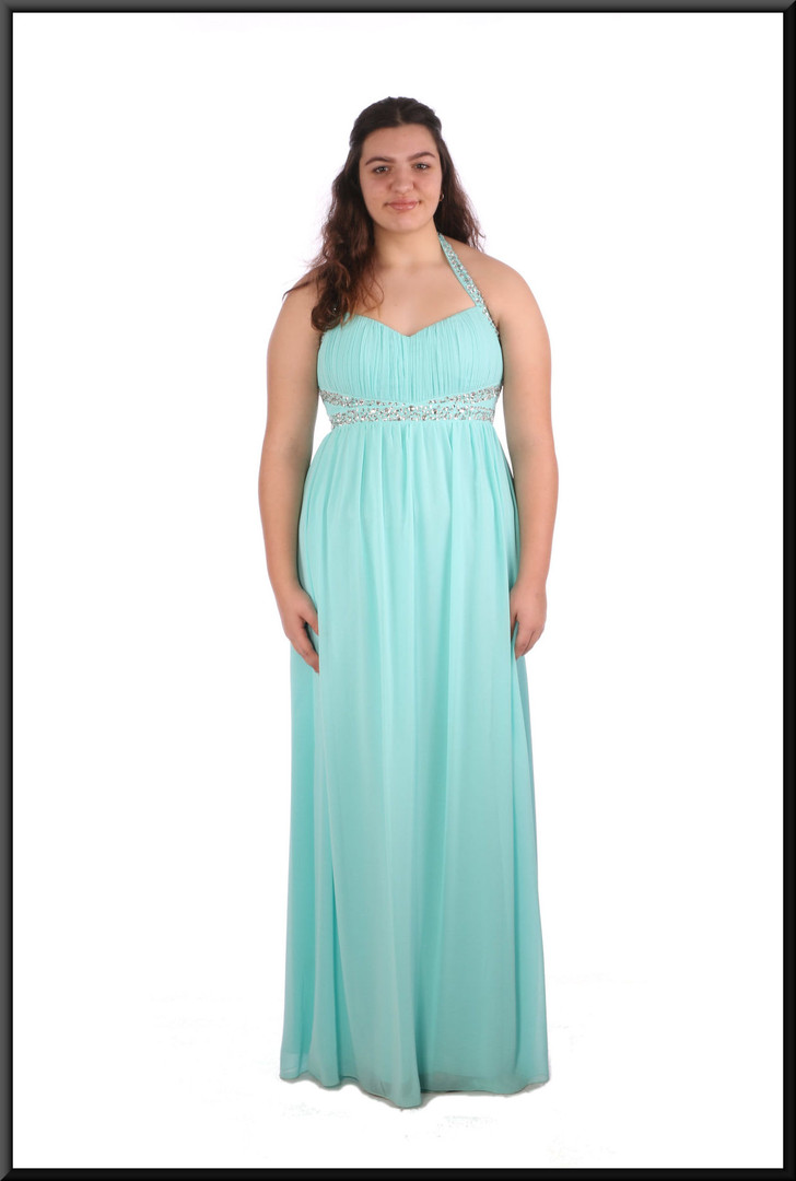 Full length chiffon over satinette evening dress with sequinned bodice and straps - pale blue , size 16 - 1 of 2; model height 5'8""