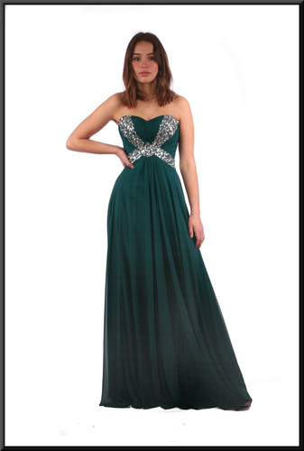 "Full-length strapless evening dress and chiffon over-skirt - bottle green.  Model height 5'7""."