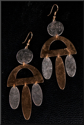 Aztec style metal gold and silver effect earrings