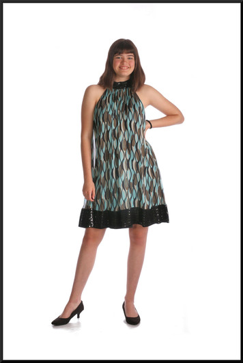 """Twenties style mini dress silk with polyester lining and sequinned hemline,teal / multi, size 10, model height 5'10"""""""