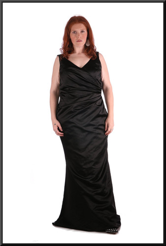 """Thirties style satin full length evening dress with slightly flared skirt with corset tie, black, size 20, model height 5'7"""""""