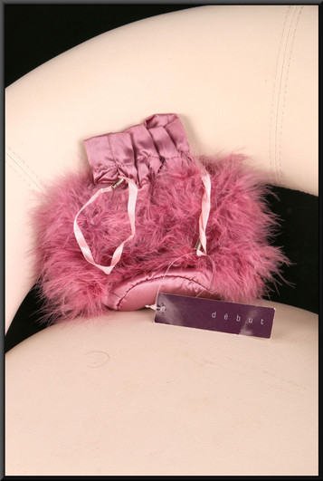 Dainty pink satinette and feather clasp bag  (Brand new on receipt)