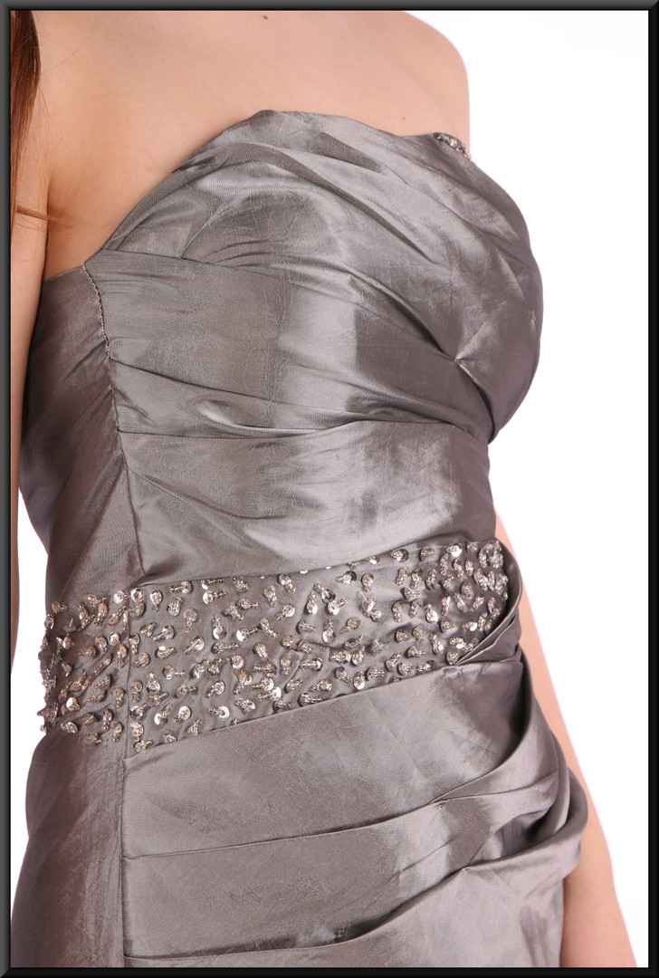 """Full length strapless lined fake-silk evening dress with train and corset tie - silver grey - size 12. Model height 5'7"""""""