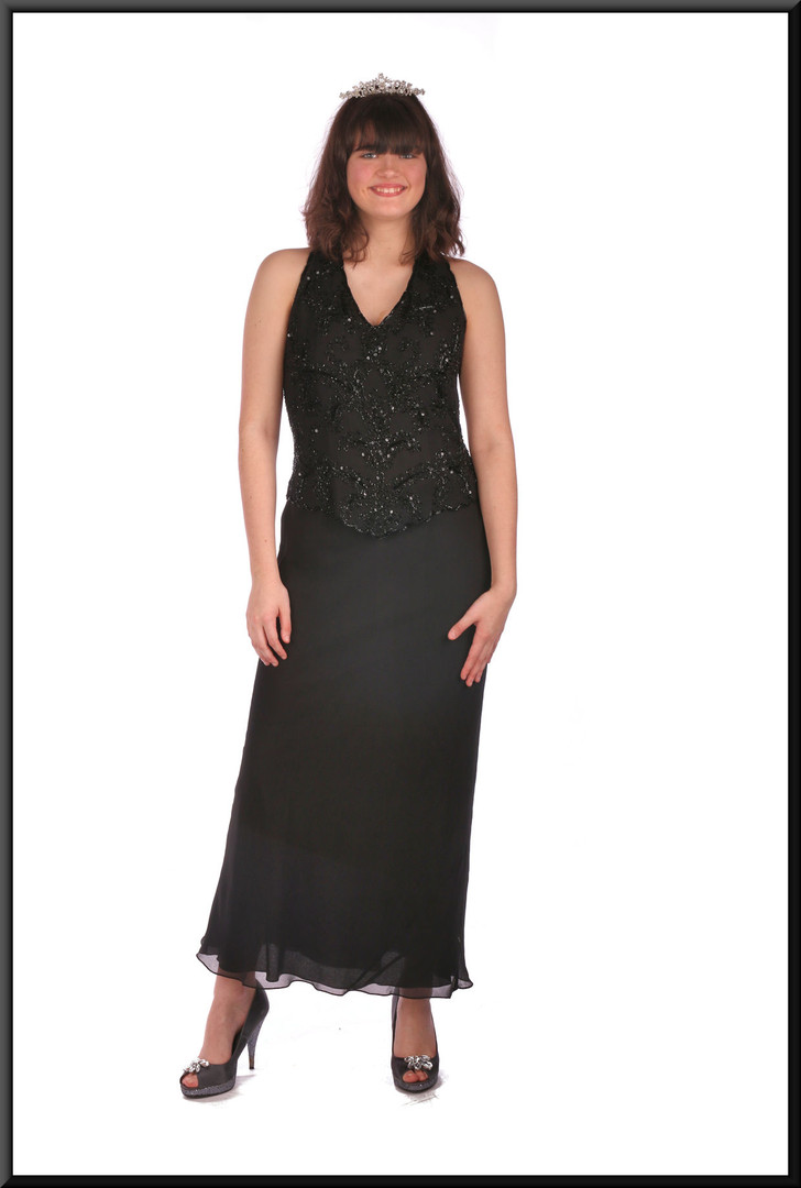 "Ankle length slim fit evening dress chiffon over satinette with bejewelled bodice - black, size 10.  Model height 5'10"".  Tiara available separately."