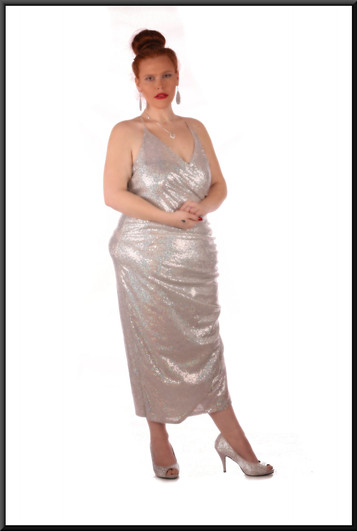 Sequinned mid-calf dress - silver – needs strapless bra
