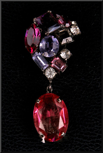 Ruby and diamond effect brooch with spring clip