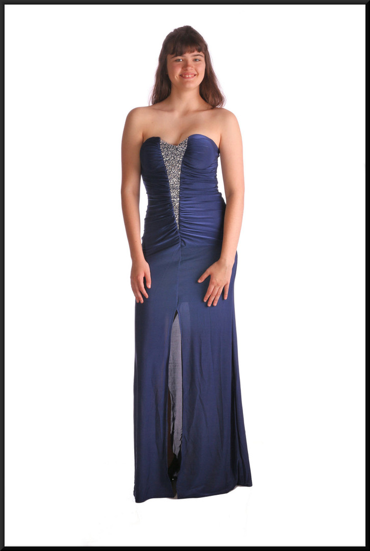 Full length strapless evening dress with frontal split and mini under-skirt / diamanté decoration, navy blue, est size 10 / 12 (marked L)