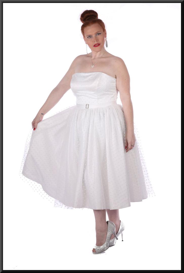Size 18/20 Strapless spotty-pattern, diamanté brooch belt, bridesmaid dress  - off-white