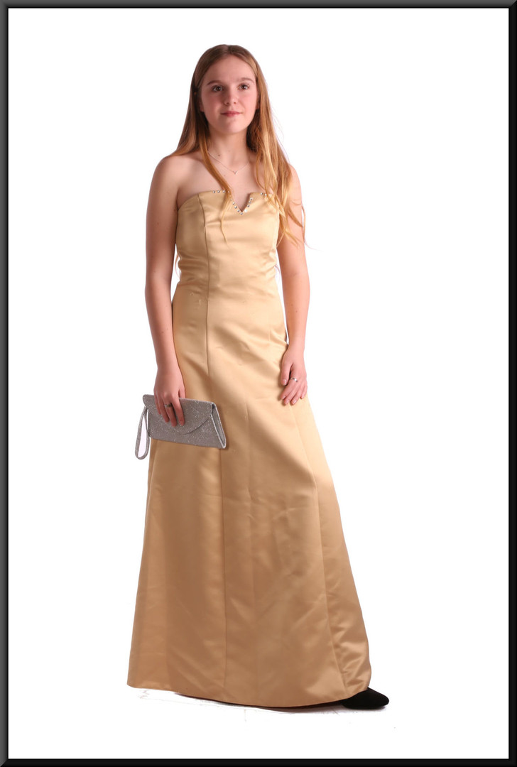 "Satin full length strapless dress polyester, size 8 in gold with floral pattern.  Model height 5'5"".  Bag - see accessories page item A001"