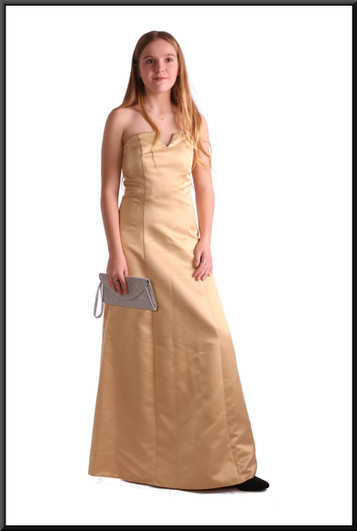 """Satin full length strapless dress polyester, size 8 in gold with floral pattern. Model height 5'5"""". Bag - see accessories page item A001"""