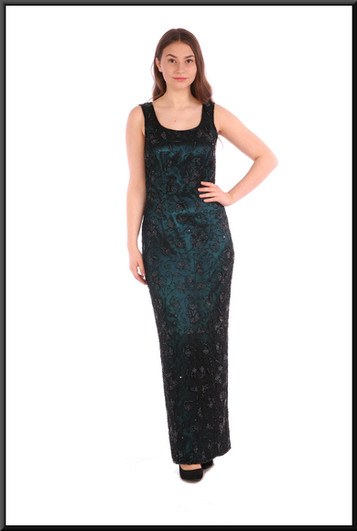 """Classic full length sequinned evening dress with teal coloured lining and iridescent beads, black - size 10; model height 5'5"""" (yoke and shawl available as optional extras)"""