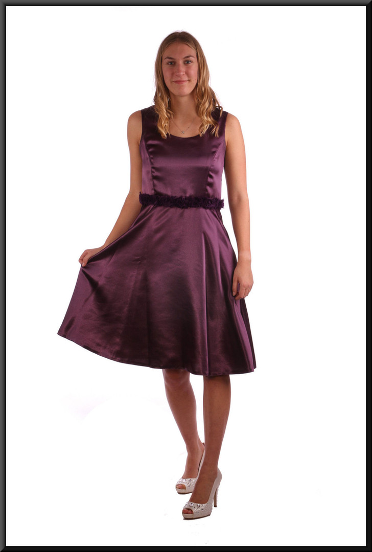 Hand-made knee length double layer satinette bridesmaid / cocktail dress - plum, size 10.  Model height 5'9""