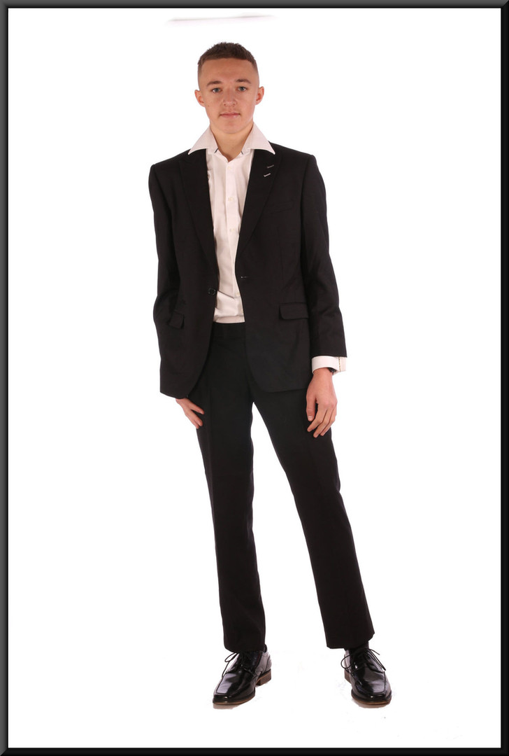 """Men's evening suit - black, jacket size unmarked, trousers 32"""" short - worn with white evening shirt cat. no. 157"""