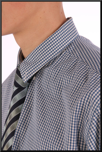 """Men's shirt collar 16.5 slim-fit - blue and white """"Gingham"""""""
