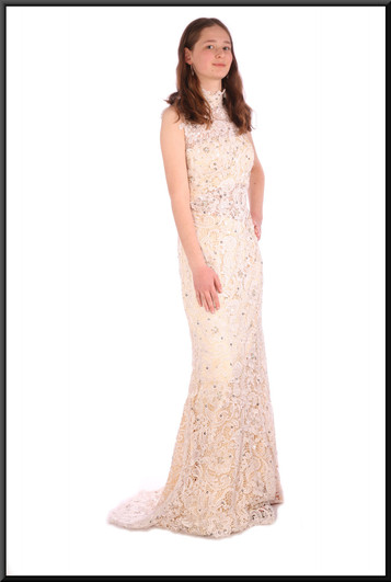 """Full length slimline almost backless evening dress with translucent under-bust panel - ivory, size 6 / 8. Model height 5'6"""""""