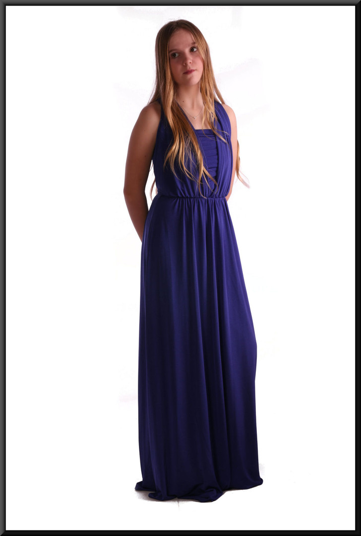Greek goddess style full length dress with full length rear bow and separate bodice, size 8 in royal blue.  Model height 5'5""