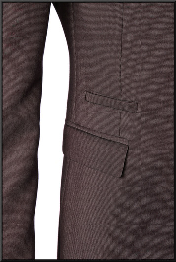 "Two-piece mid-grey slim-cut men's / boys' suit, chest 34, waist 28, inside leg 31, fit regular Model height 5'11"""