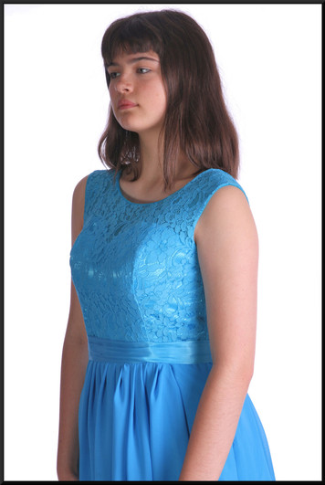 """Ankle length bridesmaid dress with lace bodice and satinette skirt plus corset tie – 1 of 2, dark sea blue, size 10, model height 5'10"""""""