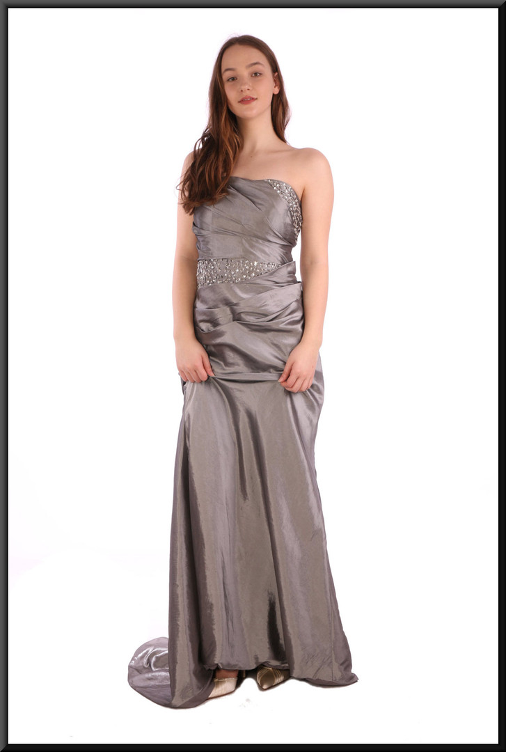 Full length strapless lined fake-silk evening dress with train and corset tie - silver grey - size 12.  Model height 5'7""