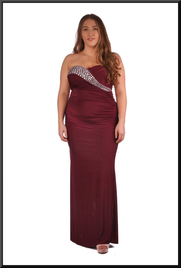 """Felt evening dress with bejewelled flash across bust - burgundy, size 14. Model height 5'4"""""""