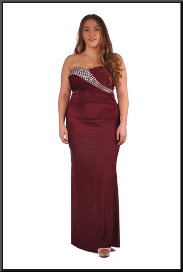 """Felt evening dress with bejewelled flash across bust in burgundy.  Model height 5'4"""""""