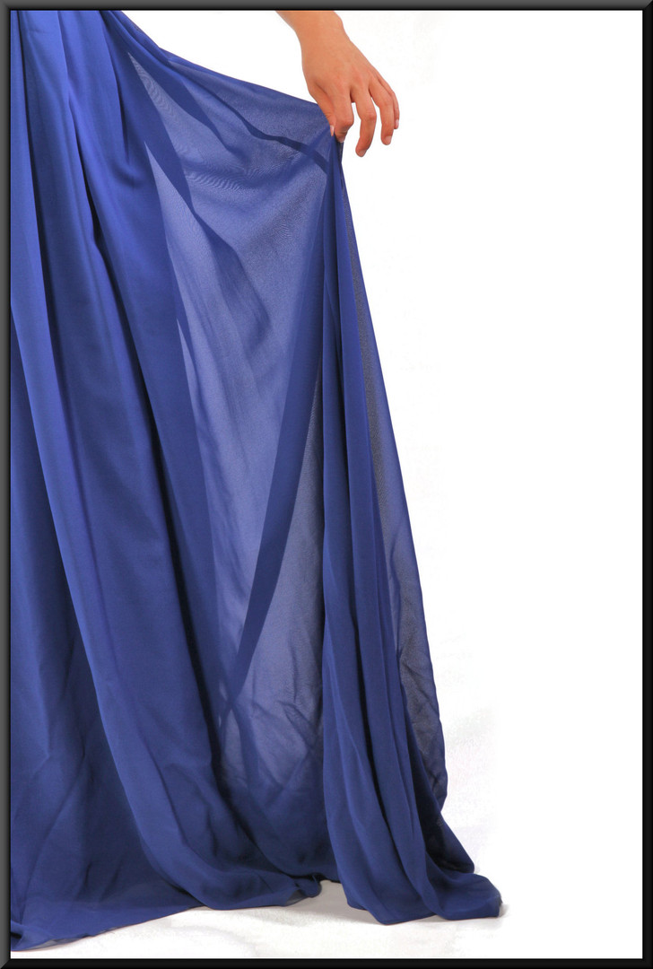 Full length strapless evening dress with silver decoration chiffon over satinette in royal blue, size 10 / 12; model height 5'5""