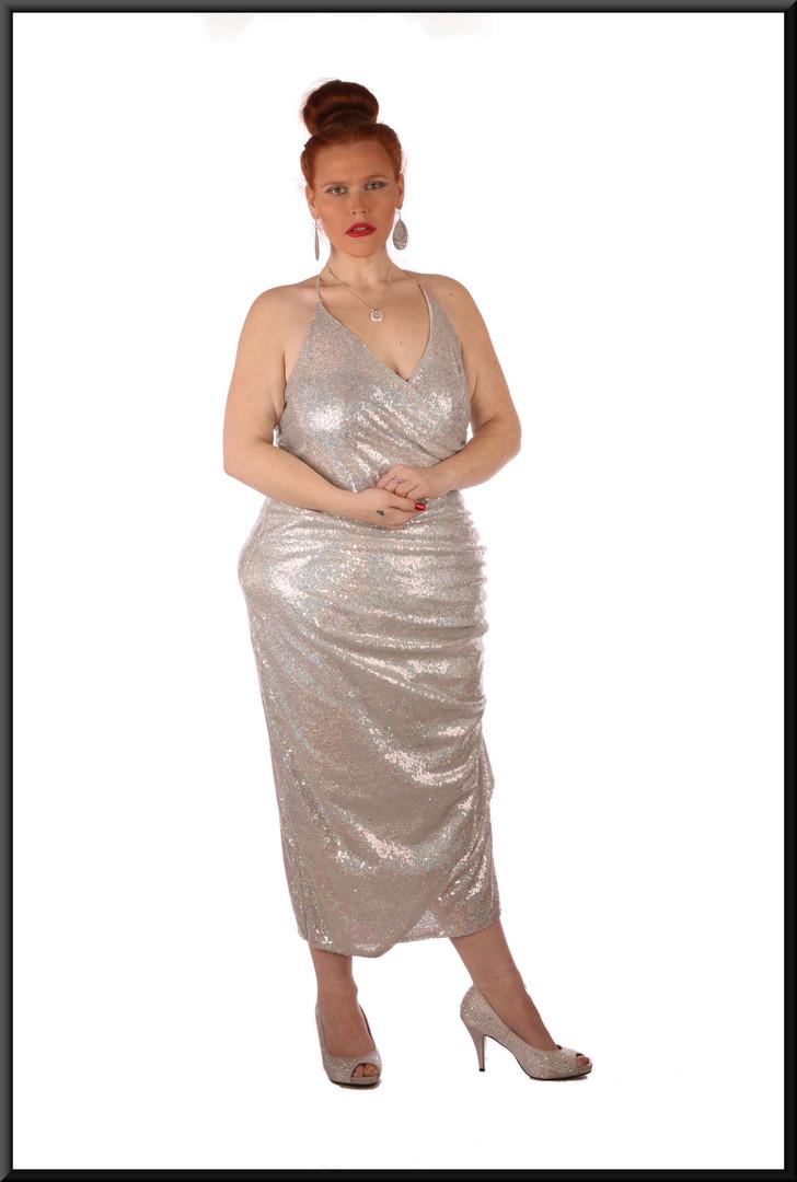 Sequinned mid-calf dress – needs strapless bra - siler