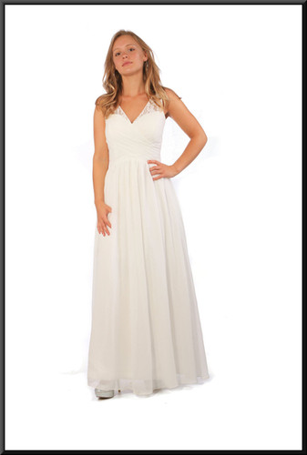 Full length evening dress chiffon over satinette in silvery white, size 10, model height 5'5""