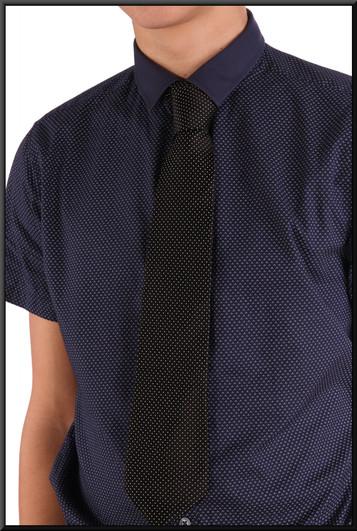 Men's short-sleeved shirt collar 15(?) small regular fit royal blue