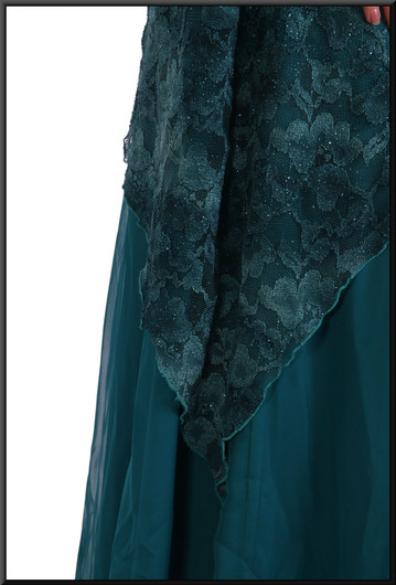 """Full-length Edwardian style evening dress with patterned net overlay, size 8 in turquoise. Model height 5'5"""""""