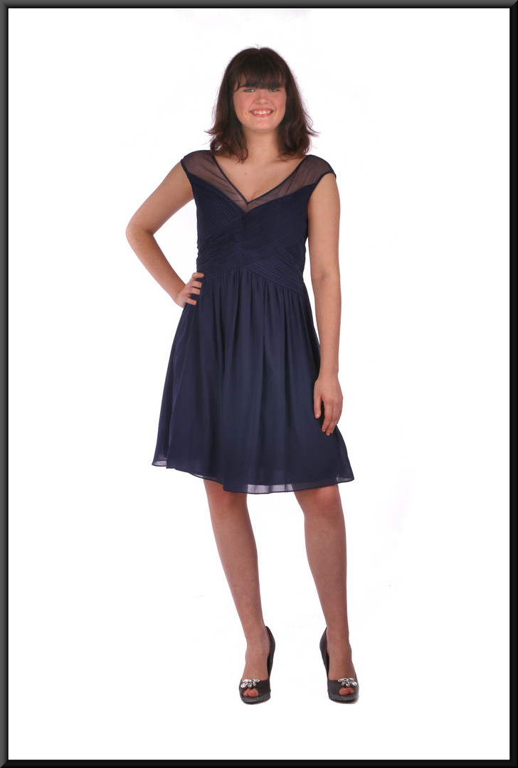 Chiffon over net skirt over taffeta cocktail mini dress - navy blue, size 12.  Model height 5'10""
