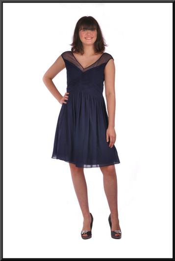 "Chiffon over net skirt over taffeta cocktail mini dress, navy blue, size 12.  Model height 5'10"""